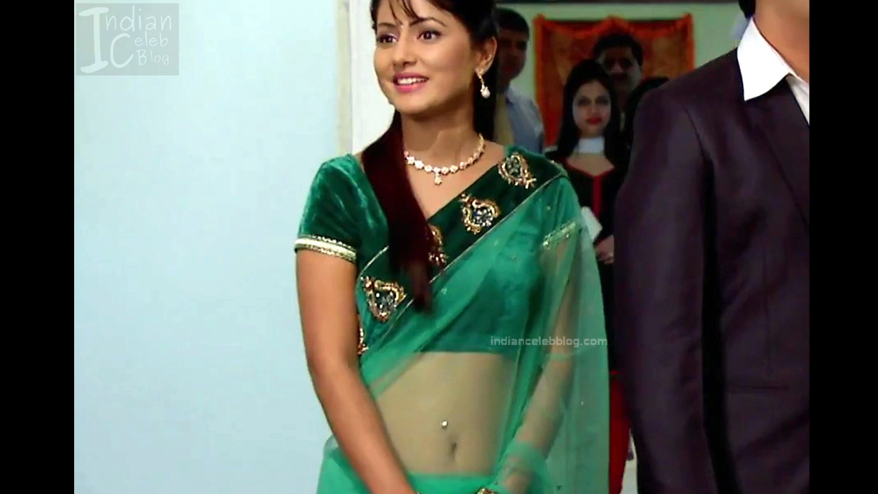 Hina Khan Hindi Tv Serial Actress Hot Transparent Saree -6130