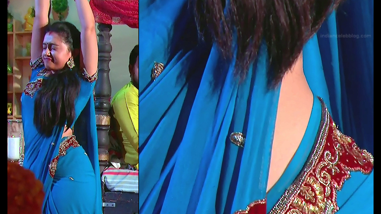 Aishwarya Meghana Telugu serial actress AgniSS1 3 hot saree caps