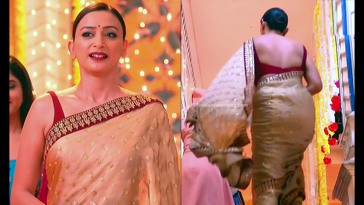Gauri Pradhan Hindi TV actress TuAS16 Hot backless sari pics