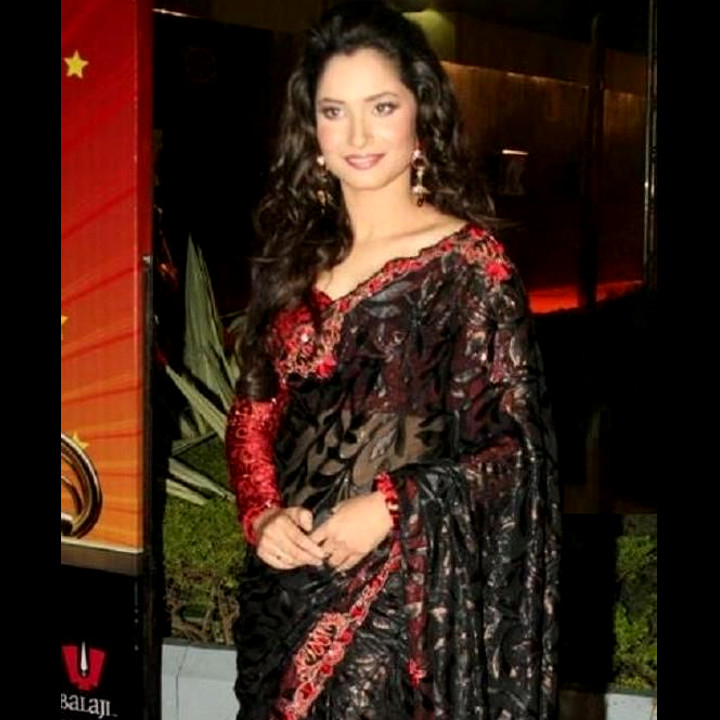 Ankita Lokhande Hindi TV actress CelebTS1 12 hot saree pics