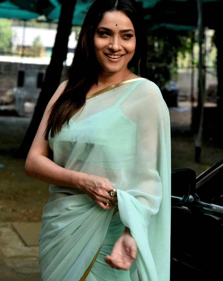 Ankita Lokhande Hindi TV actress CelebTS1 16 hot saree pics