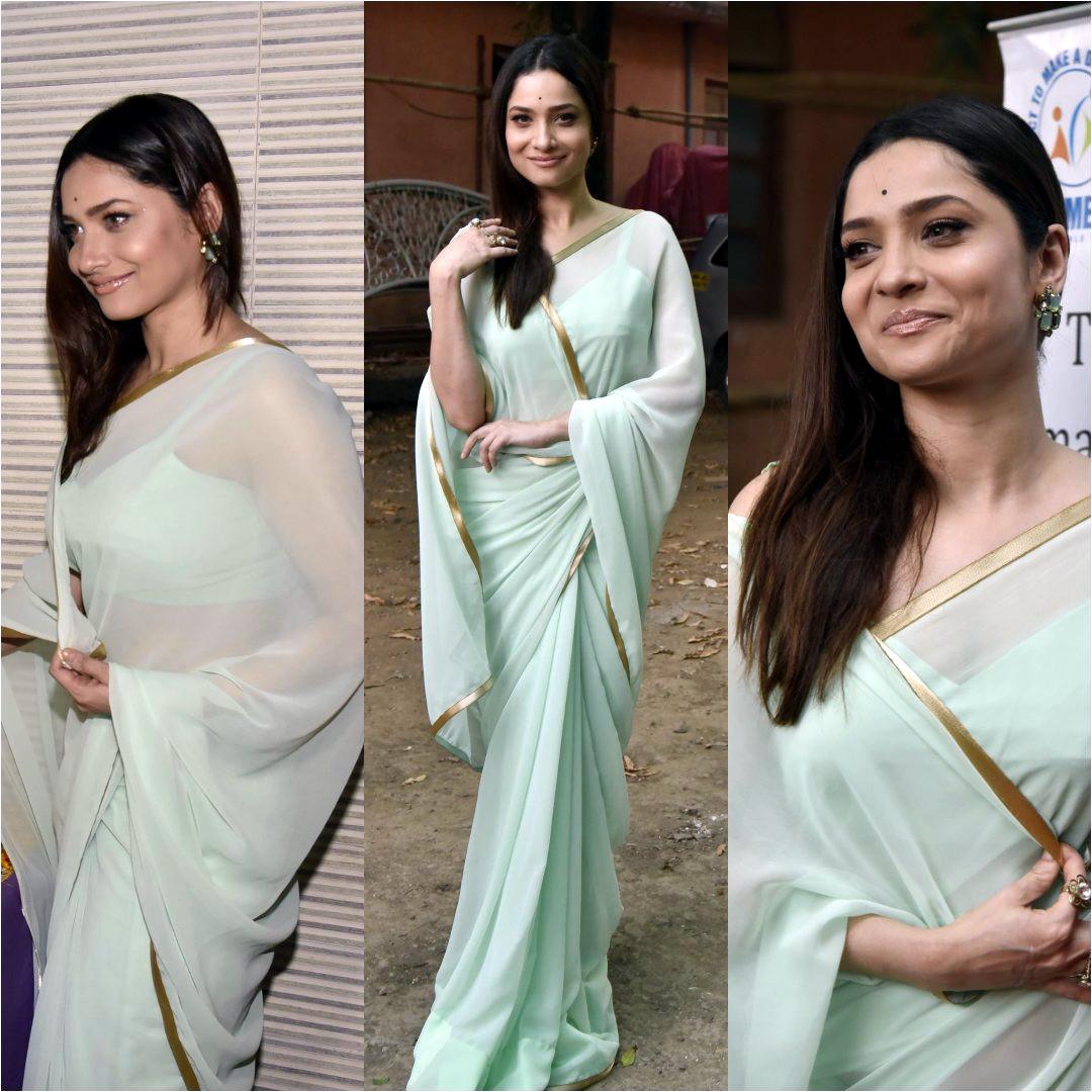 Ankita Lokhande Hindi TV actress CelebTS1 3 hot saree pics