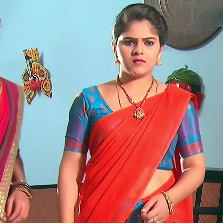 Telugu TV Actress Agnisakshi UnKS1 3 hot saree caps