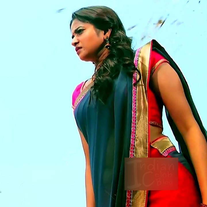 Nithya ram Tamil tv actress Nandhini S1 3 hot saree caps